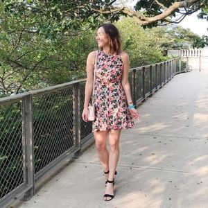 J. Crew Neon Floral Ruched Waist Chiffon Dress 0